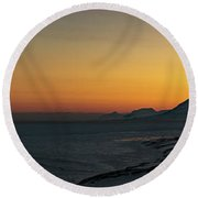 Svalbard During Sunset Round Beach Towel