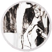 Swans After Mikhail Larionov Black Oil Painting 5 Round Beach Towel