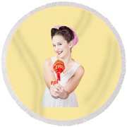 Sweet Lolly Shop Lady Offering Over Red Lollipop Round Beach Towel