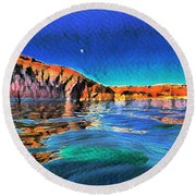 Swells And Reflections Lake Powell Round Beach Towel