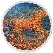 Swirly Horse 1 Round Beach Towel