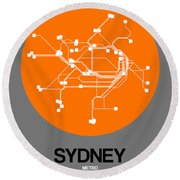 Sydney Orange Subway Map Round Beach Towel