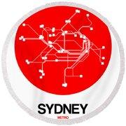 Sydney Red Subway Map Round Beach Towel