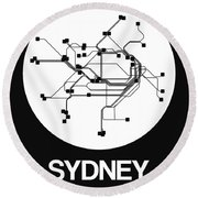 Sydney White Subway Map Round Beach Towel