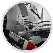 T-28b Trojan In Selective Color Round Beach Towel by Doug Camara