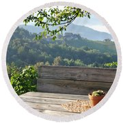 Table At The Vineyard Round Beach Towel