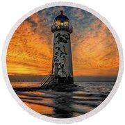 Talacre Beach Lighthouse Sunset Round Beach Towel