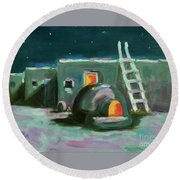 Taos At Night Round Beach Towel