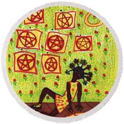 Tarot Of The Younger Self Eight Of Pentacles Round Beach Towel