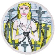 Tarot Of The Younger Self Eight Of Swords Round Beach Towel