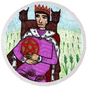 Tarot Of The Younger Self King Of Pentacles Round Beach Towel