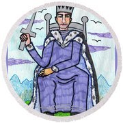 Tarot Of The Younger Self King Of Swords Round Beach Towel