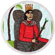 Tarot Of The Younger Self King Of Wands Round Beach Towel