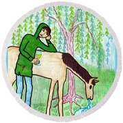 Tarot Of The Younger Self Knight Of Cups Round Beach Towel