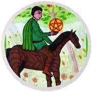Tarot Of The Younger Self Knight Of Pentacles Round Beach Towel