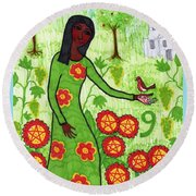 Tarot Of The Younger Self Nine Of Pentacles Round Beach Towel