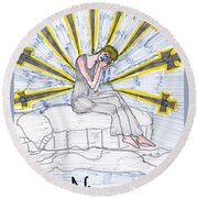 Tarot Of The Younger Self Nine Of Swords Round Beach Towel