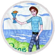 Tarot Of The Younger Self Page Of Cups Round Beach Towel