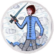 Tarot Of The Younger Self Page Of Swords Round Beach Towel