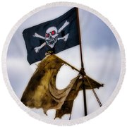 Tattered Sail And Pirate Flag Round Beach Towel