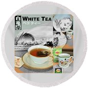 Tea Collage With Brush  Round Beach Towel