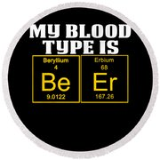 Teachers Assistant Design Blood Type Is Beer Gold Round Beach Towel
