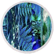 Teal Abstract Round Beach Towel