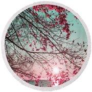 Teal And Fuchsia - Autumn Sunrise Reimagined Round Beach Towel