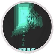 Teal Map Of Rhode Island Round Beach Towel