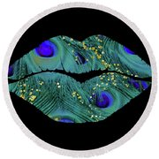 Teal Peacock Lips Kissing Mouth Fashion Art Round Beach Towel