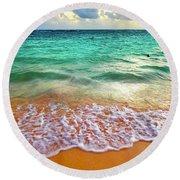 Teal Shore  Round Beach Towel by Cindy Greenstein