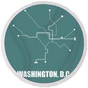 Teal Washington, D.c. Subway Map Round Beach Towel