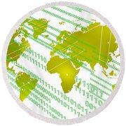 Tech Worldmap With Binary Code Round Beach Towel by Alberto RuiZ