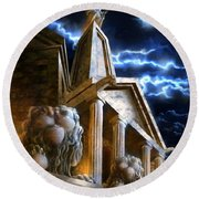 Temple Of Hercules In Kassel Round Beach Towel