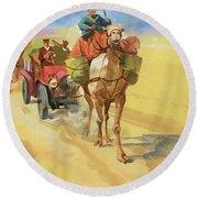 Ten Thousand Mile Motor Race Camel Train Round Beach Towel