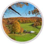 Tending To The Farm Woodstock Vermont Vt Vibrant Autumn Foliage Yellow And Orange Round Beach Towel