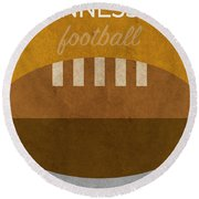 Tennessee Football Minimalist Retro Sports Poster Series 004 Round Beach Towel