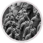 Terra Cotta Warriors In Black And White, Xian, China Round Beach Towel