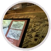 Terra Cotta Warriors In Pit 3 Ruins With Diagram Round Beach Towel