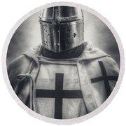 Teutonic Knight Black And White Round Beach Towel