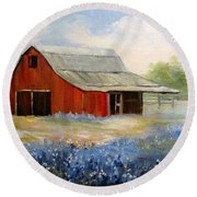 Texas Blue Bonnets And Red Barn Round Beach Towel