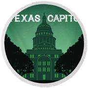 Texas Capitol Round Beach Towel