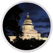 Texas State Capital Dawn Panorama Round Beach Towel