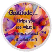 Text Art Gratitude Round Beach Towel