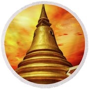 Thai Temple Sunset Round Beach Towel by Adrian Evans