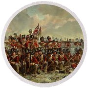 The 28th Regiment At Quatre Bras Round Beach Towel by Elizabeth Thompson