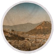 The Acropolis And Lykabettus Hills Round Beach Towel by Mark Forte