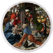 The Adoration Of The Magi With Donor  Round Beach Towel