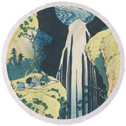 The Amida Waterfall In The Province Of Kiso  Round Beach Towel