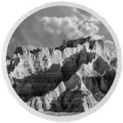 The Badlands In Black And White Round Beach Towel